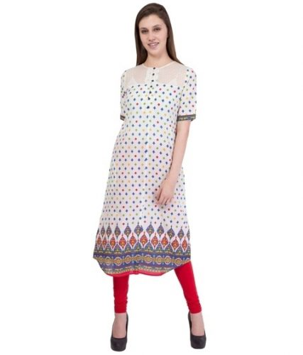 White Round Neck Half Sleeve Kurti (1)