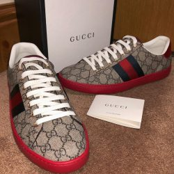 Mens GUCCI ace GG Leather low top supreme sneaker trainers 100 percent Authentic