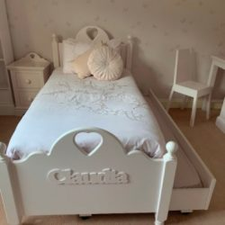 Bed for Children - Girls pink wooden bed - Louby Loo truckle bed